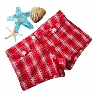 P&S USA Shorts Red White Plaid Short Cheeky